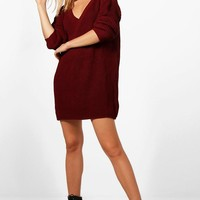 Erin Rib Knit V Neck Jumper Dress | Boohoo