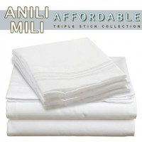 Anili Mili's Triple Stitch Embroidery Affordable 4 PC Bed Sheet Set - King Size, White