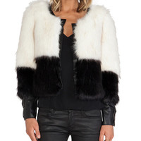 Black White Contrast Color Half Sleeve Fur Coat
