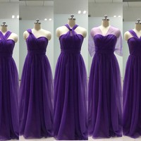 2016 Sweetheart Tulle Purple Bridesmaid Dresses Long for Wedding Bridesmaid Dress Convertible vestido de festa de casamento