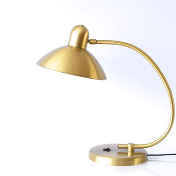 BRASS LAMP, Modern Desk Lamp, Swiss Gold Colored Table Lamp, Solid and Heavy, Made in Switzerland by 'Solaris', 1960s Midcentury Modern