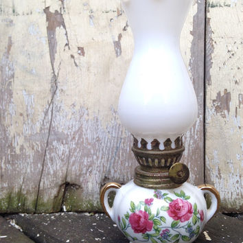 Miniature Porcelain Oil Lamp, Antique Oil Lighting, Vintage Collectible Lantern with Floral Decor