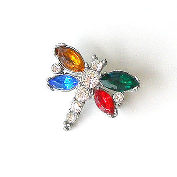 SALE Vintage Rhinestone Bug Pin, Multicolor Rhinestone Dragonfly Brooch, Tiny Rhinestone Lapel Pin, Spring Jewelry.