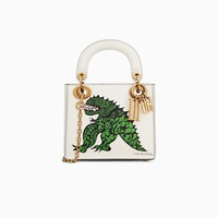Mini Lady Dior bag with chain in off-white calfskin with textured Niki de Saint Phalle print - Dior