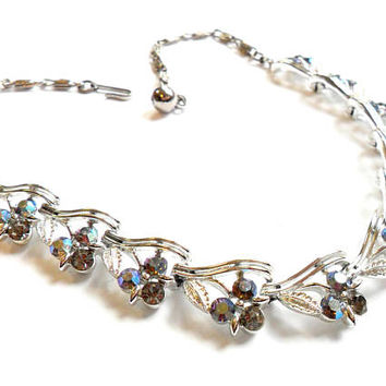Vintage Lisner Rhinestone Necklace - Blue Gray Glass - Silver Tone Metal - Snail Chain - Choker Bib - Wedding Bridal - Aurora Borealis