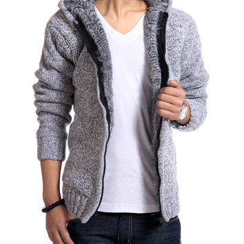 2016 Autunm Winter Fur Lining Thicken Hoodies Man