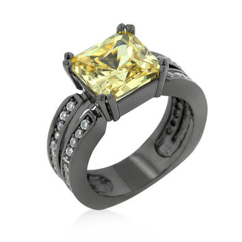 Hematite Yellow Cubic Zirconia Cocktail Ring