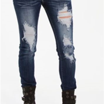 Machine Skinny Jeans Destructed Darker Wash DMP1A3415
