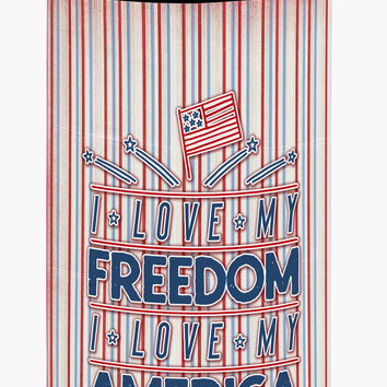 Freedom I Love America Tall Boy Beverage Insulator Hugger BB5444TBC