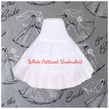 Rockabilly White PETTICOAT, Misses and Plus Size 1950s Style,  Upcycled Crinoline Underskirt, Modern Pin Up, Bridesmaid by HARDLEY DANGEROUS