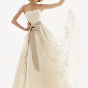Strapless Satin Organza Gown with Antique Lace - David's Bridal