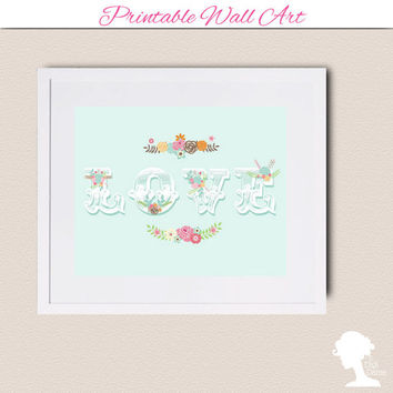 Printable Wall Art 8x10 - LOVE with vintage flower bouquets in pastel mint green