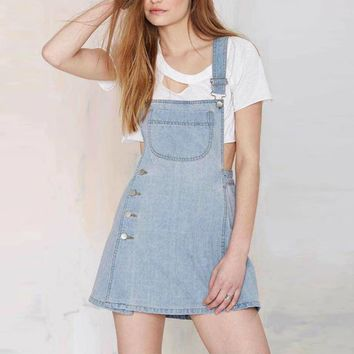 Women Denim Overalls Punk Rock Preppy Summer Style Casual Mini Straight Denim Women Jeans Suspender Culottes