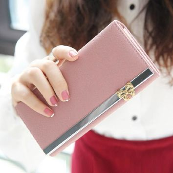 Bifold leather long bow famous brand designer women wallet purses phone cases  carteira feminina billeteras para mujer 45