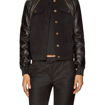 Leather Zip Yoke Bomber Jacket by Givenchy at Gilt