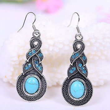 Costume Jewelry Silver Turquoise Rhinestone Diamante Earrings Necklace Sets HU