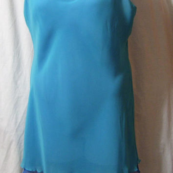 Jones New York, Short Chemise, Sexy Night Gown, Bridal Honeymoon, Sheer Chiffon, Reversible Blue to Green, Size L Large,