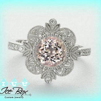 Morganite Engagement Ring or Pink Sapphire 14K White gold Diamond Halo setting