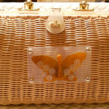 Vintage Wicker with Lucite Purse Handbag Made in Hong Kong