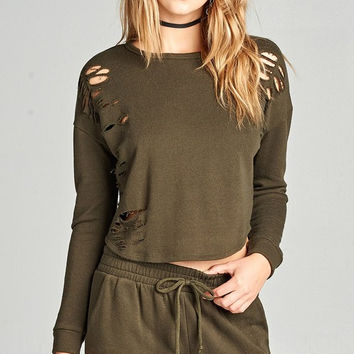 Distressed French Terry Sweater - Olive
