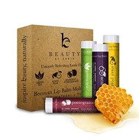 Lip Balm Uniquely Refreshing Exotic Flavors (4 Pack), with Natural Beeswax Lip Care with Coconut Oil and Vitamin E to Repair Dry and Chapped Lips, Made in the USA