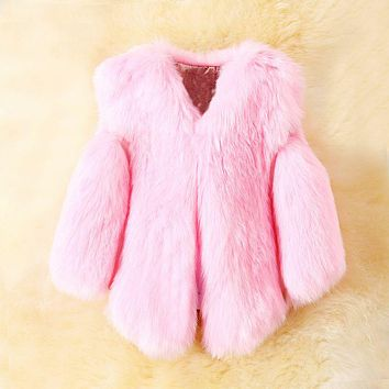 Girls Faux Fox Fur Vest Winter Warm Kids Fur Vests for Girls Coat Fashion Baby Girl Jacket Children Outerwear