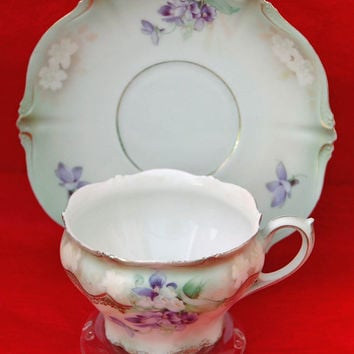 Antique R S PRUSSIA W/ VIOLETS Tea Cup and Saucer on Shaded Green Background with Red Steeple Mark, Exc. Condition, Very Fine Porcelain !