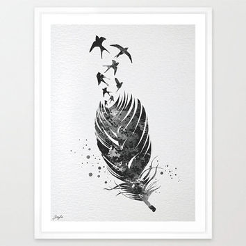 Feather and Birds Watercolor illustration Art Print,Wall Art Poster,Nursery kids Art Decor Print,Wall Hanging,Wedding,Birthday Gift,No 106