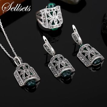 Sellsets Jewellery  Design Black Rhinestone And Green Resin Pendant Necklace Set Antique Silver Color Vintage Jewelry Sets