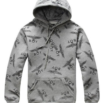 Gray Eagle Print Hooded Sweatshirt