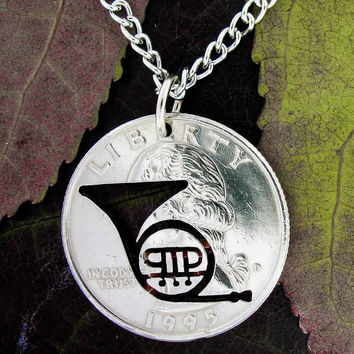 French Horn band musician hand cut quarter necklace