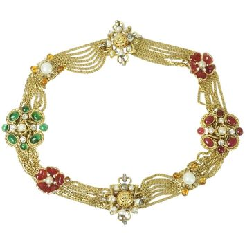 Chanel Gold Chain Link Belt/Necklace with Gripoix and Pearl Camelias-Circa 70's