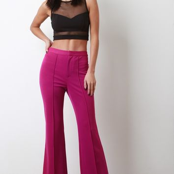 Pintuck High Waist Flared Pants