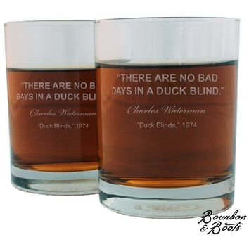 Duck Hunting Quotes Whiskey Glass Sets