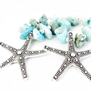 Curtain Tiebacks, Shabby Chic Tiebacks, Starfish Curtain Tiebacks, Drapery Tiebacks, Beach Decor, Beaded Tiebacks