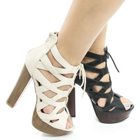 Simple38 By Wild Diva, Cut Out Corset Lace Up Platform Chunky Block Heel