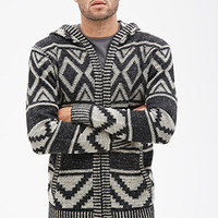 Geo Pattern Knit Hoodie Black/Cream