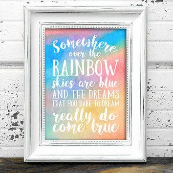 Over The Rainbow Print  // Nursery Print // Instant Download Over The Rainbow nursery print,nursery art,Rainbow print,