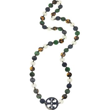 Tory Burch Malachite and Tory Navy Multi Resin Logo Long Necklace