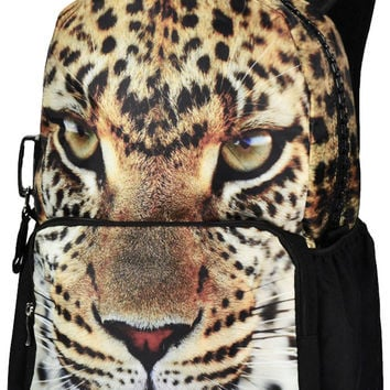Leopard Print Large Backpack