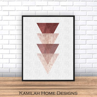 Geometric Print, Triangle Art, Arrow Print, Geometric Art, scandinavian print, Abstract Art, Triangle Print, Printable, Instant Download