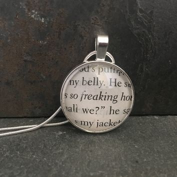 Fifty Shades of Grey Book Page Pendant Necklace