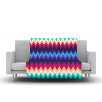 "Nika Martinez ""Surf Chevron"" Fleece Throw Blanket"
