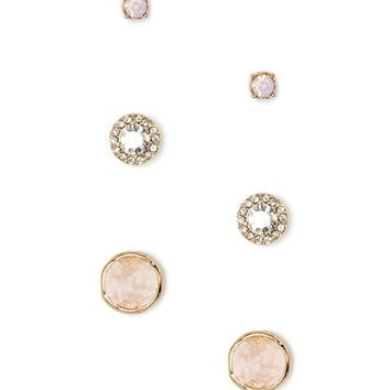 Circle Rhinestone Stud Set