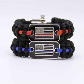 Thin Blue Line & Thin Red Line Paracord Survival Bracelet