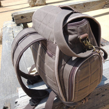 Diaper Bag Backpack, Waxed Canvas, Genuine Leather, Brown/taupe, Water Proof Lining, Can Wear As A Tote.