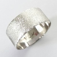 White gold ring men's wedding band women's ring with deep sand roughness finish 8mm wide