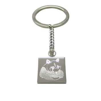 Silver Toned Etched Panda Bear Keychain