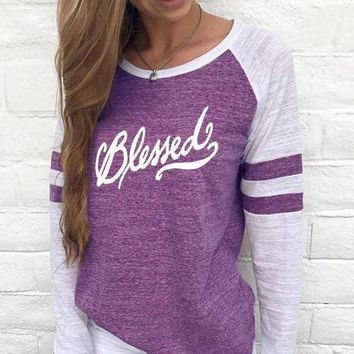 Blessed Women's Baseball Jersey Christian Semi-Fitted Long Sleeve Shirt