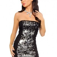 Black Silver Sequin Strapless Mini Dress @ Amiclubwear sexy dresses,sexy dress,prom dress,summer dress,spring dress,prom gowns,teens dresses,sexy party wear,women's cocktail dresses,ball dresses,sun dresses,trendy dresses,sweater dresses,teen clothing,eve